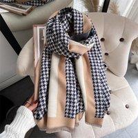 스카프 겨울 여성 디자인 격자 무늬 캐시미어 스카프 pashmina shawls와 랩 레이디 두꺼운 따뜻한 담요 hijab bufanda1