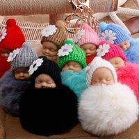 Durmiente bebé llavero falso conejo piel sombrero sombrero muñeco llavero coche llavero juguete juguete regalos de moda