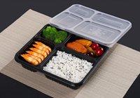 Kostenloser Versand 4 Fächer Lebensmittelgrade PP Nehmen Sie Essen Verpackungsboxen Hohe Qualität Einweg-Bento-Box für Hotel HWF5450