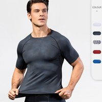 Men's 3D Printing Fitness T Shirts Quick Dry Breathable Running Training Short Sleeve Tight Elastic Wicking Quick-Drying Clothing 4023 Sports Tops