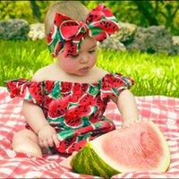 Encantador niño bebé niña sandías impresas mamelas volantes mangas mameluco deposito juego de traje de mono de hombro Conjunto con diadema de traje de traje zgg3505