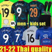 Chelsea CFC PULISIC ZIYECH HAVERTZ KANTE WERNER ABRAHAM CHILWELL MOUNT JORGINHO camisa de futebol 2022 2021 Camisa de futebol LUKAKU 22 21 masculino + kit champions finals