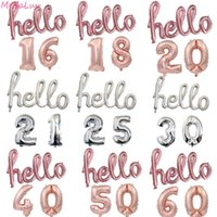 Party Decoration Silver Hello Foil Balloons With 16inch Number Balloon Birthday 16 18 21 30 40 50 Years Old Decorations Air Globos