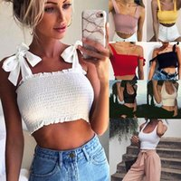 Women's Tanks & Camis Sexy Women Tank Top Casual Short Bow Tops Vest Bandage Square Collar Many Style Crop Tees