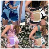 Patchwork cotone nappa pantaloncini in denim sexy Donne medio vita 2021 Summer Streetwear Tasche a colori Blocco a colori Skinny Jean Femme