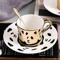 Mugs Creative Animal Reflection Ceramic Coffee Cup Electroplating Mirror Cups Plate Afternoon Tea Set Mug Glasses