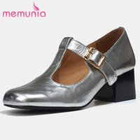 Memunia Vintage Véritable Chaussures en cuir véritables Femmes Pompes 2021 Nouvel Imprimé Print Toe Toilet Talon épais Chaussures Simple Mesdames