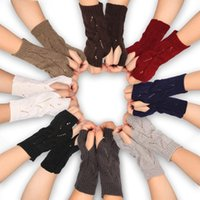Five Fingers Gloves 2021 Winter Cashmere Knit Half-Finger Short Solid Color Cosplay All-Match Elastic Glove Men&Women Thick Warm Mittens