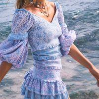 Boho Inspiré Floral Couleur Bloquée Patchwork Mini Party Fête Sleeve Sleeve Femmes Femmes Sexy Nouvelle robe d'été 210315