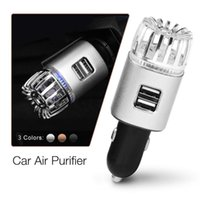 Car Air Freshener 12v Purifier Negative Ion Fresh Cleaner Deodorizer Cigarette Lighter 2.1a Usb Charging Port Led Light Auto Accessories