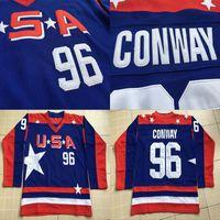 96 Charlie Conway Jersey 2017 Equipe EUA Mighty Ducks Filme Ice Hockey Jersey Todos Costurados e Bordados