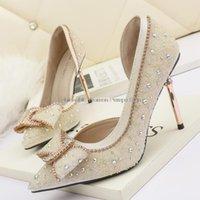 Dress Shoes Elegant Women Pumps Crystal Shallow 9cm High Heels Stilettos Rhinestone Butterfly-knot Women's Party Bride Wedding