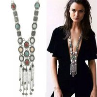 Chokers Trendy Bohemian Stone Tassel Choker Necklace Woman Vintage Exaggerate Geometry Chunky Chains Necklaces Fashion Collier Jewelry
