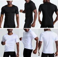 Designer lulu yoga Short Sleeve mens tees gym sports polos t shirt shitrs tshirts lu cotton Casual solid color T-shirt Men Top mesh black white slim tops Outfit crewneck