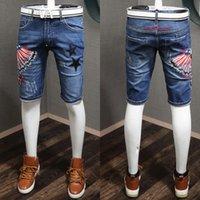 Pantalones cortos de jean angustiados Hombres Star Star Bordado Moda Calidad de mezclilla de mezclilla Niza Pantalones cortos de algodón fresco Tamaño 28-36