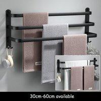 Towel Racks Bathroom Holder Set Black Rail Rack Hanger Wall Mounted Bath Bar Shelf Space Aluminum 30cm 40cm 50cm 60cm