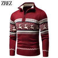2021 Autumn New Casual Jacquard Half Zip Polo Cardigan Jacket Winter Long Sleeve Mock Neck Sweater Pullover Men
