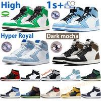 Мужские Air Jordan 1 Баскетбольные Обувь OG High 1s Кроссовки Темный Мокский Университет Синий Патент Борд Shadow Hyper Royal Lucky Green Chicago Toe Mens Trainers