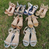 "YSL""Women Sandals Tribute Patent Leather Platform T-strap High Heels Sandals Thick Bottom Light Twine Braided Cross Strap Wild Wedg BCk"