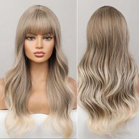 Synthetic Wigs Emmor Blonde With Platinum Wig For Women Natural Long Wavy Bangs Heat Resistant Fiber Daily Cosplay Hair