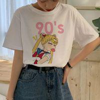 Sailor Moon Harajuku T-shirt Femmes Ullzang Kawaii Dessin animé T-shirt Esthétique Mignon 90s graphique T-shirt de style coréen T-shirt Tee Femme