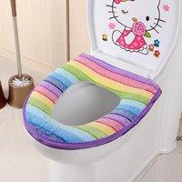 Gökkuşağı Mercan Kadife Klozet Kapak Kış Sıcak Klozet Yüzük Kapak Banyo Tuvalet Dekorasyon Gökkuşağı Koltuk Yastık Padleri LLF9027