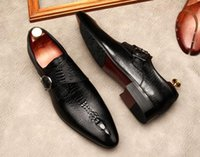 Dress Shoes Italian Buckle Genuine Leather Mens Oxford Male Party Wedding Office Black Brown Brogue Formal