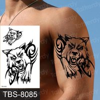 Temporary Tattoos Henna Tattoo For Men Wolf Sleeve Water Proof Sticker Arm Shoulder Boys Sexy Black Mens Decal