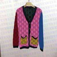 Designer Buchstaben Pullover Mantel für Frauen Herbst Winter Lange Stil Strickjacke Rainbow Knits Jacke Damen Kleidung
