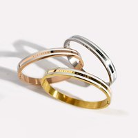 Fashion Couple Dripping letter text titanium steel bangle rose gold silver color love bracelets for women men jewelry