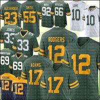 "12 Aaron Rodgers Jersey 17 Davante Adams grün ""Bay"" Packers ""Jones Jaire Alexander David Bakhtiari Liebe Trikots Reggie White Ray Nitschke Brett Favre"