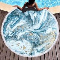 Patrón de mármol de moda de toalla Playa redonda de verano con cordón Bolsa de almacenamiento deportes Bañera de baño Toallas de ducha Tassel