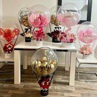 Hediye Wrap Balon Sepet Çiçek Doğum Günü Sepeti Sürpriz Teslimat Dekorasyon Parti Bobo Şeffaf Çikolata Kutusu Buket Hava Düğün