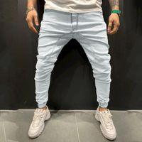 Men's Jeans JAYCOSIN Autumn Mens Casual Solid Sports Full Length Pants Slim Mid-waist Trousers Bodybuilding Pocket Denim Pencil Pant