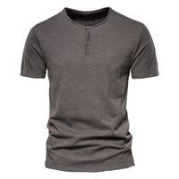 Erkek T Shirt Aiopeson Katı Renk Rahat O-Boyun Düğme Yukarı 100% Pamuk T-shirt 2021 Yaz Kalitesi Klasik Üst Tees