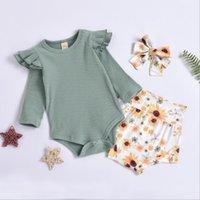 Bebek Kız Giysileri Çocuklar Uzun Kollu Katı Tulum Ayçiçeği Baskılı Üçgen Fırfır Butik Tulumlar Rahat Onesie Çocuklar 3 adet / takım GWC6561