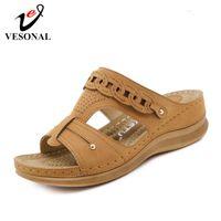 Hausschuhe BETTONAL Vintage-Schuhe Frauen Sandalen Wedge 2021 Sommer Komfortable Große Größe Damen Sandles Platform Sandalias