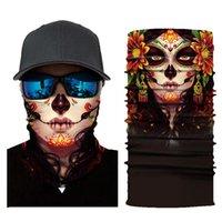 Scarves 3D Cycling Magic Scarf Men Women Neck Face Mask Ghost Skull Motorcycle Head Bandana Shield Headband Headwear Bandanas