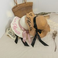 Çiçek kelebek hasır şapkalar büyük saçaklar katlanır plaj şapka sahil çiçekleri güneş kapaklar gelgit kadın mektup