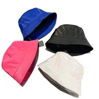어부 모자 양동이 모노그램 수채화 파란색 여성을위한 실버 톤과 목화에서 파란색 stingy 브림 모자 남자 평면 인쇄 더블 suded casquette sun caps 리조트