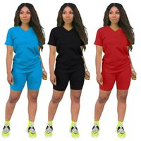 Women's Tracksuits Ladies Casual Solid Color Sports Suit Shorts Short Sleeve Clothing
