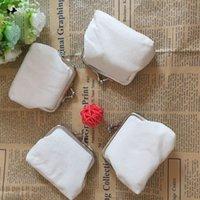 6Svm Blank White Pure Coin Storage Girls Children Bags Canvas Purse Wallet Plain Clutch Gift DIY Organizer Pstif
