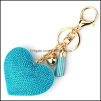 Keychains Aessoriesgold Crystal Heart Keychain Tassel Charm Carabiner Key Rings Holder Bag Hangs Fashion Jewelry Will And Sandy Ship Drop De