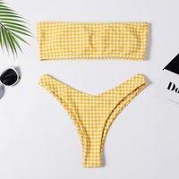 Bikinis Set Tube Top Women's Plaid Print Sexy Bikini Small Fresh Split Swimsuit Summer Perspective Lattice Plus Size Push Up Padded Bra