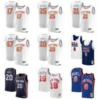 2021 New York Knicks Basketbol Julius Randle Jersey R.J. Barrett Patrick Ewing Chell Robinson Sprewell Dikişli Siyah Beyaz Boyutu S-XXXL Mesh Nefes Hızlı Kuru