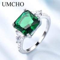 Cluster Rings UMCHO Classic Created Emerald Colorful Gemstone Real Sterling Silver 925 Jewelry For Women Birthday Gifts Fine