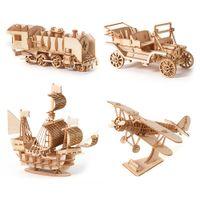 3D Holz Auto Puzzle Modell DIY Flugzeug Handgemachte Kinder Kind Segelboot Erwachsene Montage Spielzeug Schreibtisch Dekor Segelschiff Doppeldecker Zug