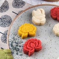 Fiore orientale Fiore di pasticceria Forma Mooncake Mooncake Pressione a mano Fondant Moon Cake Decorating Tools Tools Pasticceria Strumento di cottura 6pcs Set 210225