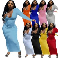 봄 가을 여성 솔리드 V 넥 전체 슬리브 티셔츠 드레스 섹시한 하이 허리 슬림 맞는 패키지 힙합 파티 클럽 드레스