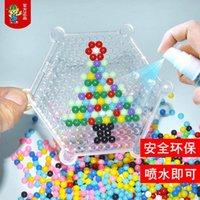 마법의 물 접착제 구슬 장식 멀티 컬러 크리스탈 DIY 구슬 물 스프레이 3D 퍼즐 어린이 키트 공 게임을위한 교육 장난감